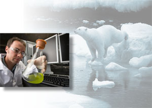 A scientist in a lab coat holding a flask of green liquid; a polar bear on an ice flow.