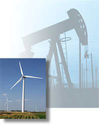 Three-blade wind turbine; an oil well pumpjack.